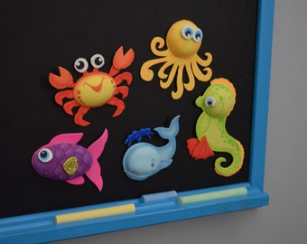 Magnetic Chalkboard WITH Foam Sea Animal Magnets