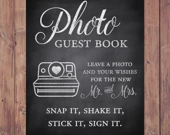 photo guest book - leave a photo and your wishes for the new mr and mrs - rustic wedding guest book - 8x10 - 5x7 PRINTABLE