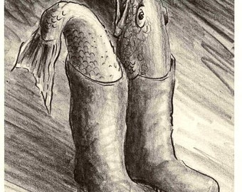I caught a Walleye... 8x10 Funny Pencil Drawing fishing gift Art Print By Barry Singer