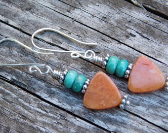 Orange Aventurine Turquoise and Sterling Silver Earrings