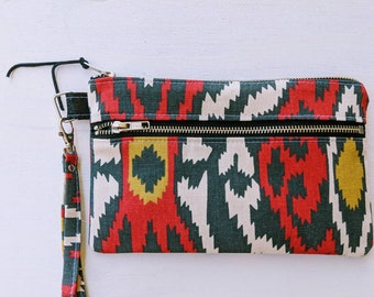 Tribal Print Double Zipper