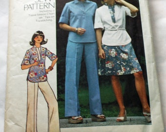Vintage, 1970s, Sewing Pattern, Simplicity 7249, Pullover Top, Short Skirt and Pants, Misses' Size 10, 1970s Pattern, OLD2NEWMEMORIES