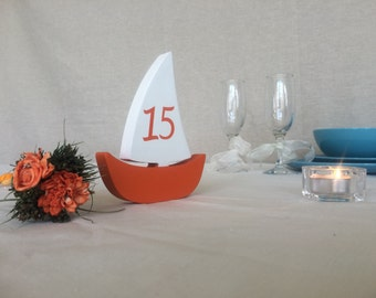 wooden Sail Boats table numbers, Nautical wedding table numbers double sided numbers boats, number on both sides on he Sail