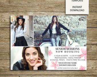 Senior Mini Session Cherry Blossom Background -Photography Studio Marketing - 7x5 Photoshop Template - ***INSTANT DOWNLOAD***
