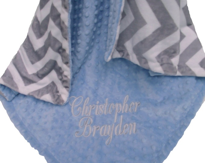 Baby Blue and Gray Chevron Minky Baby Blanket for Boy