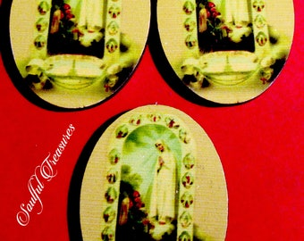 Catholic Virgin Mary Our Lady of Fatima Wood Cabochons Perfect for Jewelry Making, Altered Art, Scrapbooking, Assemblage Projects