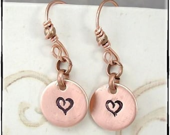 Heart Hand Stamped Dangle Earrings On Hand Made Earwires