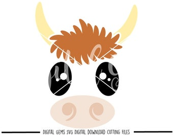 Cow face svg / dxf / eps / png files. Digital download. Compatible with Cricut and Silhouette machines. Small commercial use ok.