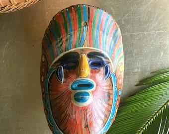 vintage painted Mexican mask face  boho decor Taxco souvenir