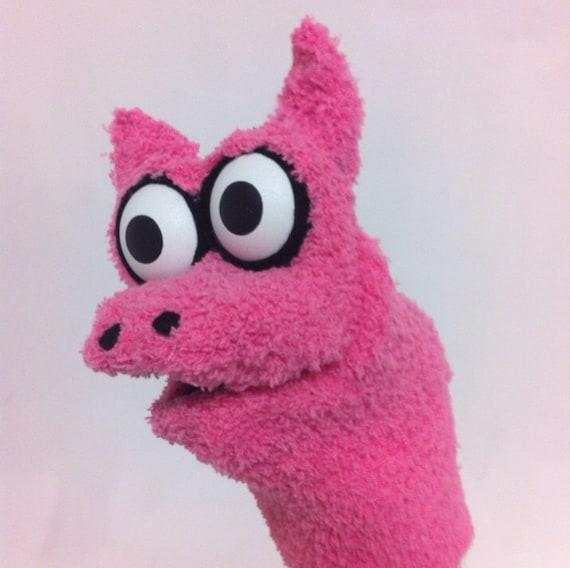 Rosa cerdo calcetín marioneta