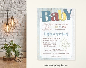 Baby Sip and See, Sip and See Invitations, Sip n See Invite, Sip & See Baby Shower, Baby Shower Invitations, New Baby Sip and See, Boy, Girl
