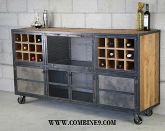 Liquor Cabinet/ Bar   Rustic Industrial, Vintage, Urban Modern Design.  Reclaimed Wood Top U0026 Steel. Custom Configurations. Sideboard, Buffet