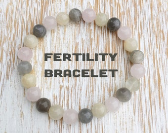 Fertility Bracelet, Fertility Crystals, Expectant Mother Gift, Trying to Conceive, Pregnancy Gift, Labor and Delivery, Moonstone Rose Quartz