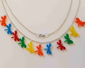 Multiple Dragonfly Necklace - Acrylic