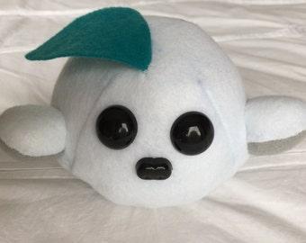 Handmade Monster Soft Toy - MeepMeep - Teal/snow monster - cute, quirky, handmade soft toy / plushie /stuffed animal