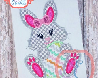 GIRL BUNNY with Egg Design For Machine Embroidery INSTANT Download