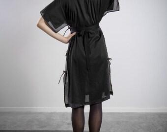 Contemporary Black Kimono Dress, Little Black Dress, Modern Dress, Kimono Dress, Cocktail Dress, Evening Wear, Sophisticated