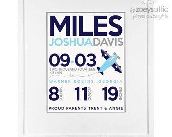 Birth announcement print - cool airplane print - birth statistics poster