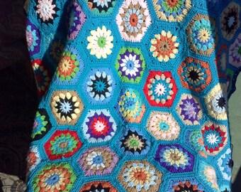 Crochet Hexagon Blanket,Crochet Hexagon Afghan,Crochet Blanket,Crochet Afghan,Crochet Granny Stitch Blanket,Crochet Granny Stitch Afghan