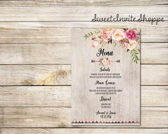 Printable Wedding Menu, Floral Wedding Menu Card, Boho Tribal Wedding Menu, Watercolor Personalized Wedding Menu Template, Peony Menu Card