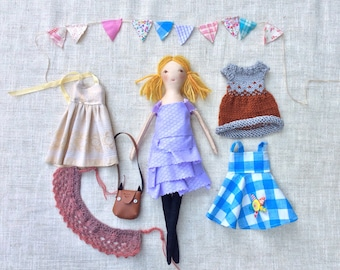 Dress up doll, cloth doll,gift idea, gift for girl, doll with clothes, doll set, modern rag doll, soft doll, dolls to dress, rag doll