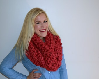 Oversized Red Infinity Scarf, Cherry Red Super Scarf, Big Red Eternity Scarf