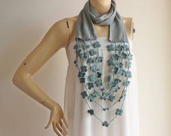 Seafoam Infinity Scarf with Crochet Flowers -Circle Scarf /Loop Scarf/ Tube Scarf