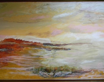 "Pat Kretchmer . 40"" x 28"" Framed Oil on Canvas Seascape Painting"