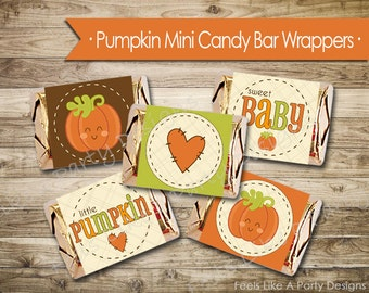 Pumpkin Baby Shower Mini Candy Bar Wrappers - Instant Download