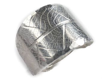 Leaf Ring - Wide Silver Band Ring - Sterling Silver Ring - Botanical Jewelry - Sterling Silver Leaf Jewelry - Everyday Jewelry