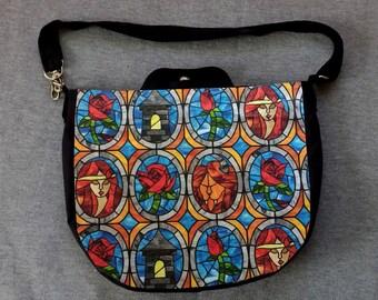 Beauty and the Beast Stained Glass Cross Body Purse Messenger Bag