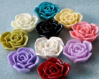 Rose Flower Cabochon Acrylic Lucite Resin You Choose Colors 20mm 908