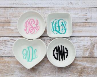 Monogrammed Ring Dish   Monogrammed Jewlery Dish   Personalized Jewelry Dish   Personalized Ring Dish   Monogram Decal   Engagement Present