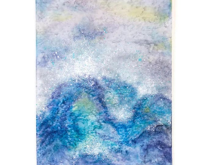 Ocean Waves Art-Watercolor Silk Tapestry-Ocean Painting-Coastal Decor-Beach Decor-Bohemian Decor-Mother's Day Gift-Watercolor Home Decor