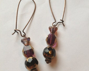 Plum Flower Czech Glass Cathedral Bead Earrings
