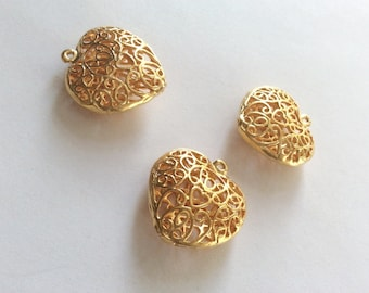 1pc -Matte Gold plated Ornamate Heart Charm - 30x28mm-(017-052GP)