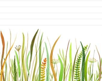 Printable Download Prairie Stationery Paper, prairie watercolor