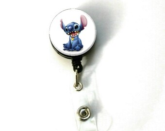 Disney Lilo & Stitch -A- ID Name Holder Badge Reel Clip On Nurse