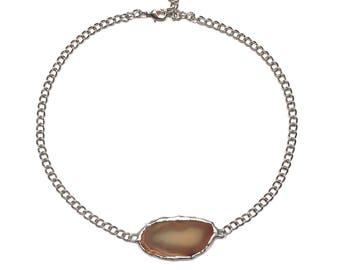 Silver plated natural agate geode slice choker