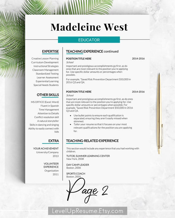 Educator Resume Template Teacher Cv Template Principal Resume