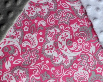 Hot Pink and Grey Paisley Baby Blanket