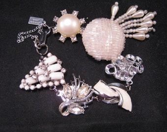 Wedding Bracelet, Bridesmaid Gift, Vintage Earring Bracelet, Bride, silver,OOAK,Rhinestone, Jennifer Jones, Milk Glass, Pearls - Dress White