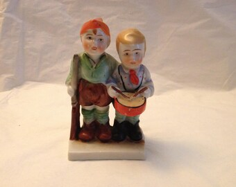 Japan Hand-painted Boys With Drum and Rifle ~ Porcelain Figurine ~ Made in Japan