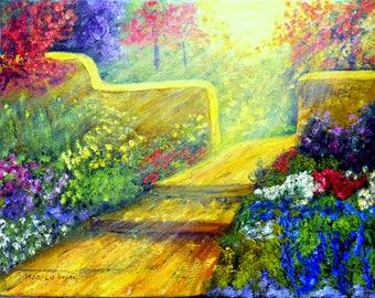 Oil Painting, Enchanted Garden, Original art, Garden Art