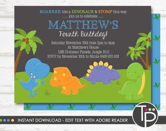 DINOSAUR INVITATION Instant Download Dinosaur Party