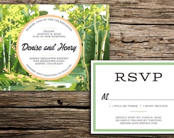 Woodland Paint by Number Wedding Invitation Suite // Colorado Wedding Invitation Aspen Wedding Invitation Trees Wedding Denver Casual Card