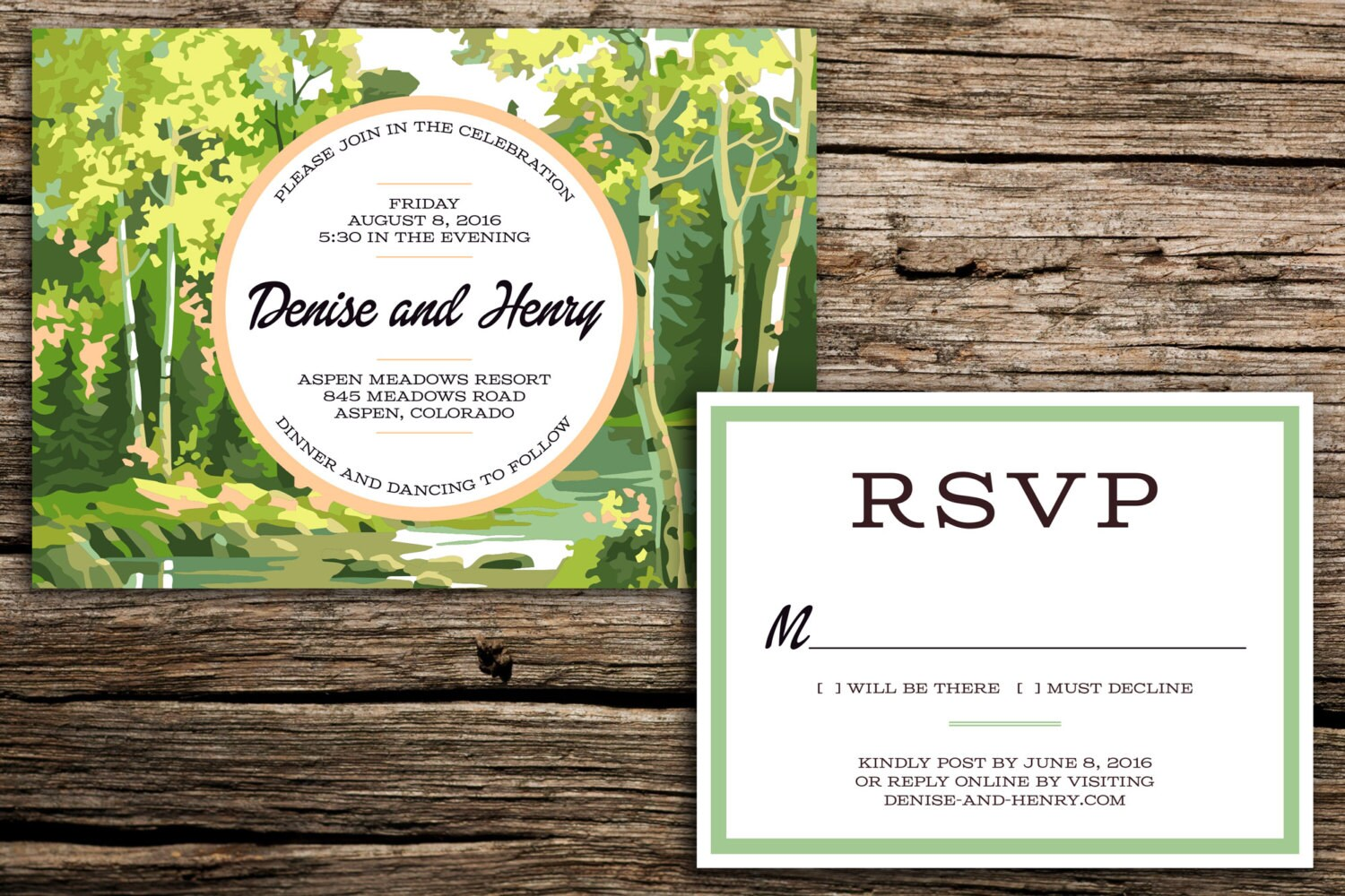 Woodland Paint by Number Wedding Invitation Suite // Colorado