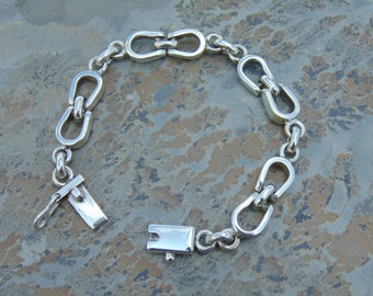 Mexican Sterling Silver Horseshoe Link Bracelet with Push Clasp - 37 Grams