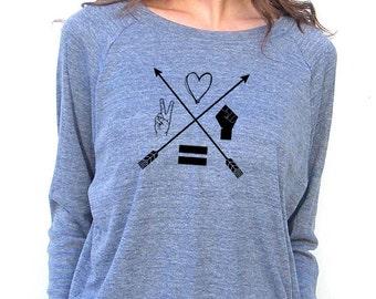 Womens Long Sleeve Sweatshirt -  Moral Compass Design - American Apparel Raglan Pullover - Small, Medium, Large