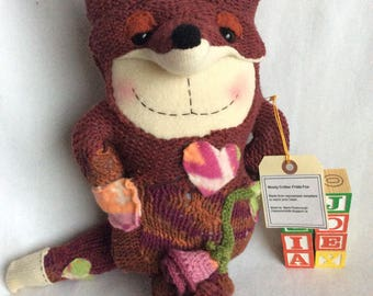 Wooly critters , fox, stuffie, repurposed sweater, handmade , cuddly , collectible , sweet toy